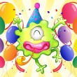 A happy monster in the middle of the balloons — Stock Vector