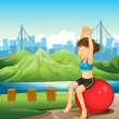 A girl exercising near the river across the mountains — Stock Vector