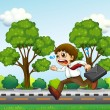 A man running hurriedly with a suitcase — Imagen vectorial