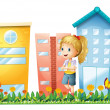 A girl in front of the buildings with a garden — Stock Vector