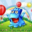 A happy blue monster at the hilltop with the floating balloons — Imagens vectoriais em stock