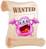 A pink monster in a wanted poster — Stock Vector
