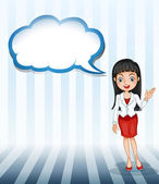 A girl talking with an empty cloud template — Stock Vector