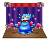 A blue monster exercising in the middle of the stage — Stock Vector
