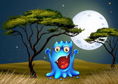 A monster near the tree under the bright fullmoon — Vector de stock