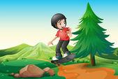 A young boy skateboarding at the hilltop — Stock Vector