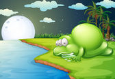 A monster sleeping near the river — Vector de stock