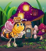 A flying bee near the enchanted mushroom house — Stok Vektör