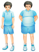 A thin and a fat boy in a blue gym uniform — Stock Vector