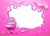 A pink border design with an injured pink monster — Stock Vector