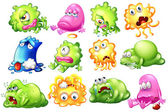 Sad and dying monsters — Stock Vector