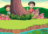 Two boys hiding at the tree — Stock Vector