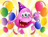 A pink beanie monster in the middle of the balloons — Vector de stock