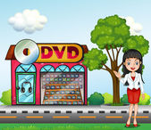 A girl in front of the dvd store — Stock Vector