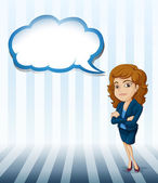 A woman with an empty cloud callout — Stock Vector