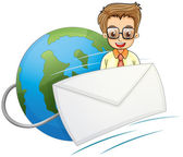 An envelope in front of a smiling businessman above the globe — Stock Vector