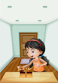 A girl unwrapping the gift inside the room — Stock Vector