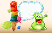 A fat green monster shouting near the giant icecream — Wektor stockowy