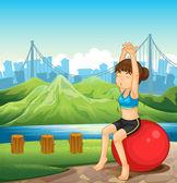 A girl exercising near the river across the mountains — Stock Vector