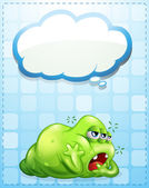 A tired three-eyed green monster with an empty callout — Stock Vector