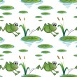 Stock Vector: Seamless design with frogs at pond