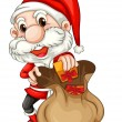 Santa Claus with a brown sack — Stock Vector
