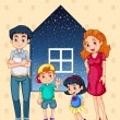 A family with four members — Imagen vectorial