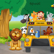 A zoo bus full of animals — Stock Vector