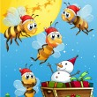 Bees watching the snowman riding on a sleigh — Stock Vector