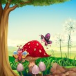 A big mushroom near the tree with butterflies — Stock Vector