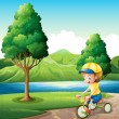 Stock Vector: A boy playing with his small bike