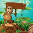 A beaver above the stump holding an empty signboard — Stock Vector
