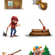 A life of a lumberjack — Stock Vector #35713235