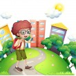 Stock Vector: A schoolboy waving while walking at the road
