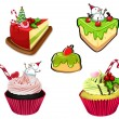 Stock Vector: Baked desserts for christmas
