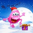 Stock Vector: Happy pink beanie monster wearing Santa's hat