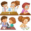 Stock Vector: Little scientists