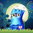A blue monster near the grass at the carnival — Stock vektor