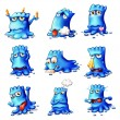 Nine blue monsters — Stockvectorbeeld