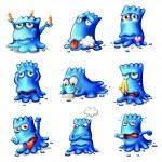 Постер, плакат: Nine blue monsters