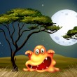 A monster near the tree scaring in the middle of the night — Stock Vector