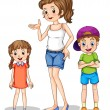 A girl and her siblings — Stock Vector