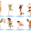 Stock Vector: Different kids enjoying the water