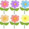 Six colorful flowers — Stockvectorbeeld