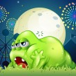 A sleepy green monster at the amusement park — Stock Vector