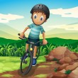 Stock Vector: Kid biking at hilltop