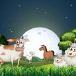 Animals at the forest strolling in the middle of the night — Stock Vector