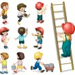 Stock Vector: Kids working