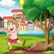 A happy kid near the tree at the riverbank beside the tall build — Stock Vector