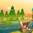 A man chopping woods at the riverbank — Imagen vectorial